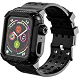 Apple Watch 4 Case, 44mm, with Strap Bands,Rugged Protective, Full Body, Shockproof, Impact Resistant, and Bulit-in Screen Protector for Apple Watch Series 4 (Black, 44mm)