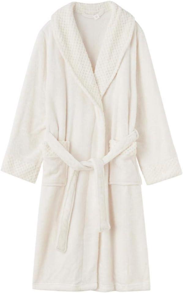 JIAHENGY Long Fleece Bathrobe Flannel Warm Sleepwear,Flannel Couple Nightgown, Autumn and Winter Plus Fertilizer Plus Nightgown, Coral Fleece Men's Nightgown-White_L (Clothing Length: 125cm)
