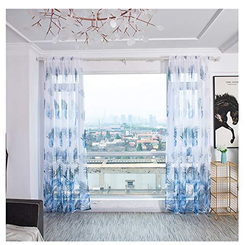 Vorhang - 2019 Blatttülle Schnittblumen Tüll Vorhang - Sheer Tüll Vorhang - Voile Drape Valance - Deko Schal Vorhänge Dekor Schlafzimmer Wohnzimmer - 100cm x 200cm - 1 Stück (Blau)