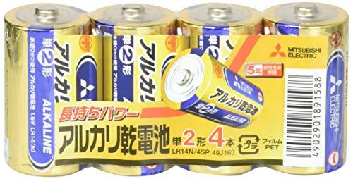 三菱電機 アルカリ乾電池 単2形 4本パック LR14N/4SP