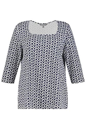 Ulla Popken Minimalshirt mit Carreé-Ausschnitt Camiseta Minimalista con Escote Tipo Role, Blanco, 64 para Mujer