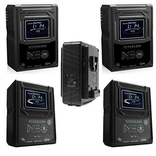 Core SWX 2X Hypercore NEO-150S 147Wh 14.8V 9.9Ah V-Mount Mini Li-Ion Battery - Bundle with 2X Hypercore NEO 9 Mini 98Wh 14.8V 6.6Ah V-Mount Li-Ion Battery, GPM-X2S Super Compact V-Mount Fast Charger