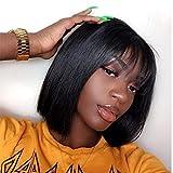 Quinlux Wigs 13X4 Lace Front Wig 150% Density Air Bangs Natural Color Short Bob Wigs Brazilian 100% Human Hair For Women (10Inch/lace front wig, 150% density)