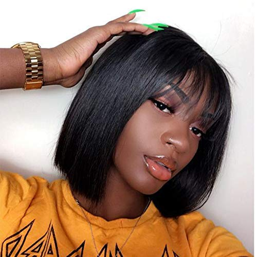 Quinlux Wigs 13X6 Lace Front Wig 150% Density Air Bangs Natural Color Short Bob Wigs Brazilian 100% Human Hair For Women (10 Inch/13X6, 150% density)