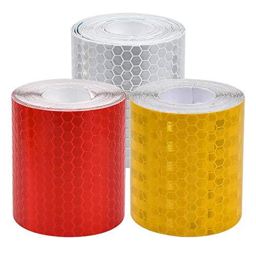 Fodlon Reflektorband Selbstklebend Warnklebeband Reflektierend für die Sicherheit im Dunkeln 3 Rolle Wetterfestes Reflektionsband Reflektoren Fahrrad Reflektor Aufkleber 50mm × 3m Rot Weiß Gelb