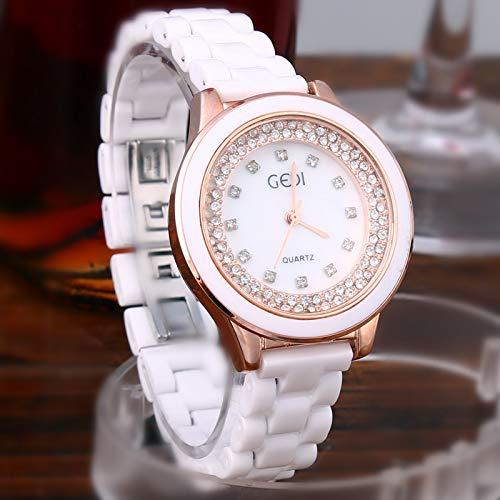 WZFCSAE Autentico Orologio da Donna Bianco Coreano Orologio al Quarzo Ceramica Tendenza Strass Casual da Donna Orologio da Marea Tondo Tipo di Diamante in Oro Rosa