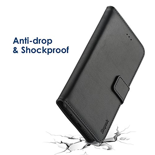 Simpeak Hülle Kompatibel mit Huawei P20 Lite, Handyhülle Kompatibel für P20 Lite Leder Flipcase [Kartensteckplätze] [Stand Feature] [Magnetic Closure Snap] - Schwarz - 6
