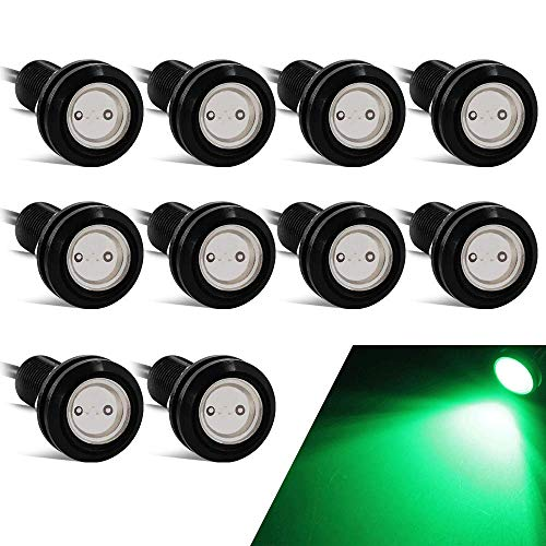 10PCS Alto Poder 18mm 9W Luz de ojo de águila Luz LED Para Automóvil Moto Luz Diurna Eagle Eye DRL Luces de Marcado (Verde)