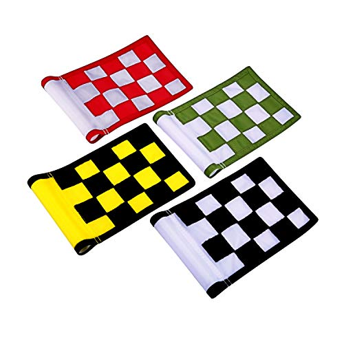 KONDAY Golf Flag,Green Golf Flags,Solid Nylon and Checkered Training Golf Putting Green Flags, Indoor Outdoor Backyard Garden Portable Golf Target Flags,8.7inch6inch (4-Sets New Version)