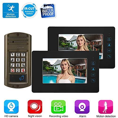 Video deurtelefoon deurbel intercom systeem, 7 inch monitor bedrade buitencamera, wachtwoord kaartlezer deuropener video deurbel intercom