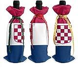 Bolsas para botellas de vino, diseño de bandera de Croacia, 3 unidades, para decoración de mesa de vacaciones talla única Como se muestra en la imagen