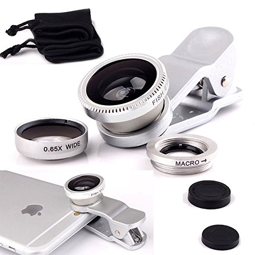 I-Sonite (Silver) Mobile Phone Universal Camera Lens 3 in 1 Kit Wide Angle Lens + Fisheye Lens + Macro Lens with Clip-on 180 Degree For Google Pixel 2 XL