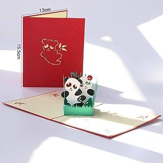 7777777 3D Tarjeta de felicitación 3 Documento Nacional de Tesoro Panda Hecha a Mano Paquete de Viaje Pop-Up Tarjeta de China Tarjeta de felicitación