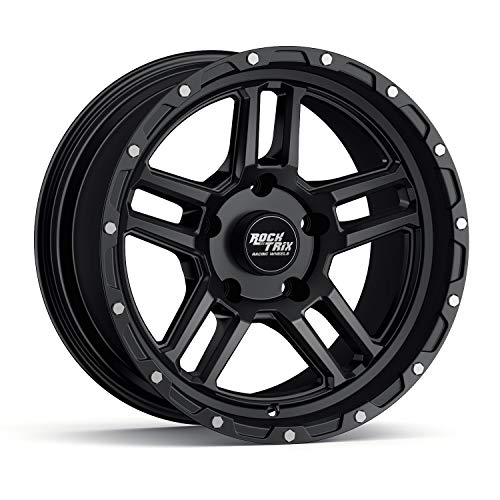 RockTrix RT109 17 inch Wheel Compatible with Jeep Wrangler JK JL 5x5 Bolt Pattern 17x9 (-12mm Offset, 4.5in Backspace) 71.5mm Bore, Matte Black, Also fits Gladiator JT - 1pc