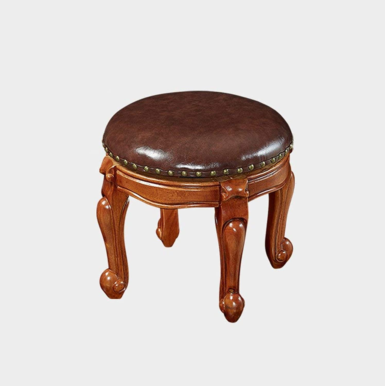 Lazy Sofa stool shoes bench Tea table stool American Solid wood low stool Small stool shoes bench Continental Stool Removable round Short leg sofa stool Wooden benc Garden (color    4)