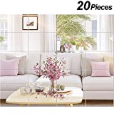 BBTO 20 Pieces Mirror Sheets Self Adhesive Non Glass Mirror Tiles Wall Sticky Mirror (6 x 9 inch)