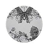 Rutschfreies Gummi-Rundmauspad schwarz und weiß Schmetterling mit floralen Mandalamustern Böhmische Verzierungen Schmetterlingsflügel schwarz weiß 7.9'x7.9'x3MM