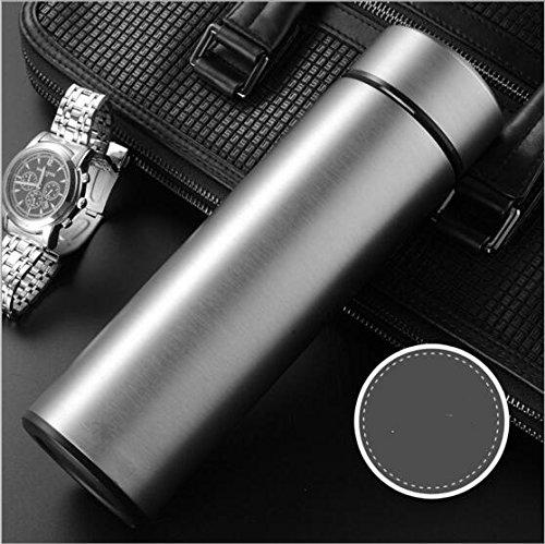 Tasse isolante en acier inoxydable Hommes et femmes Business Straight Cup Office Cadeaux créatifs (Color : Silver)
