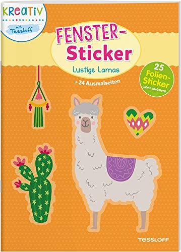 Fenster-Sticker Lustige Lamas: 24 Ausmalseiten und 30 Folien-Sticker