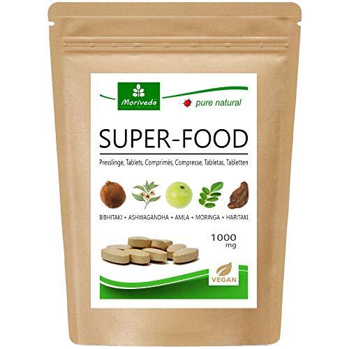 MoriVeda® Superfood Tabletten 1000mg | Moringa + Ashwagandha + Triphala Mischung | Nährstoff-Lieferant für bis zu 2 Monate | 120 Presslinge