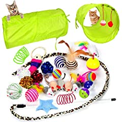 KITTEN TOYS GREAT VALUE - 24 pieces cat toys with a collapsible Cat Tunnel, Cat Teaser Wand, Interactive Feather Toy, Fluffy Mouse, Crinkle Balls, Cat Springs and etc. BUSY CATS, HEALTHY CATS - This assortment provides hours of exercise & self-amusem...