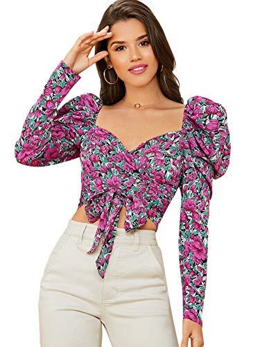 SOLY HUX Blusa corta corta con estampado floral para mujer, Multicolor#1, M