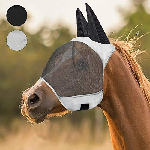 fertgo Fly Mask for Horses with All-Round Breathable Mesh, Non Heat Transferring (New Grey-H)