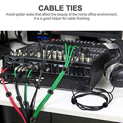KATELUO Kabel Klettband, Kabelbinder Schwarz Klettverschluss Selbstklebend Kabelbinder Wiederverschließbar mit Hochwertigem Nylonmaterial (100 Stück 150 x 12 mm)