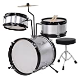 CHIMAERA Kids' 8-inch Drum Set with Drumsticks and Chair (Silver)