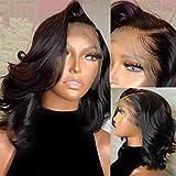 [Hebery] Human Hair Messy Ocean Wave Bob 360 Lace Wigs For Black Women Human Hair Bleached knots Pre Plucked Brazilian virgin Wigs