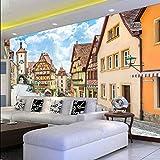 Gwgdjk 3D Country Style Adesivo Murale Campagna Street E Case Foto Biancheria Da Letto Tv Sfondo Carta Da Parati Personalizzata Murale-140X100Cm (56 * 40Inch)