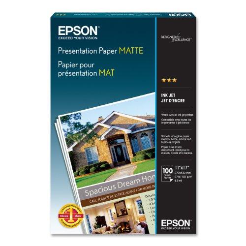 Epson Presentation Paper MATTE (11x17 Inches, 100 Sheets) (S041070),White