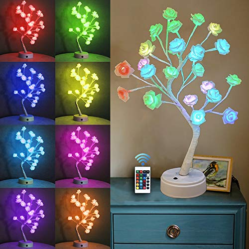 Table Lamp Rose Flower, Desk Tree Lights with Remote, USB/Battery Operated Lighted Multi Color Changing Red Pink Tree Gifts for Women Girls Teens, Wedding Mother Day, Valentine's, Christmas Decor