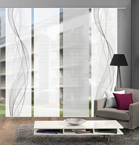 Vision S 94333-0307 | 4er-Set Schiebegardine Heights | halb-transparenter Stoff in Bambus-Optik | 4X 260x60 cm | Farbe: Grau