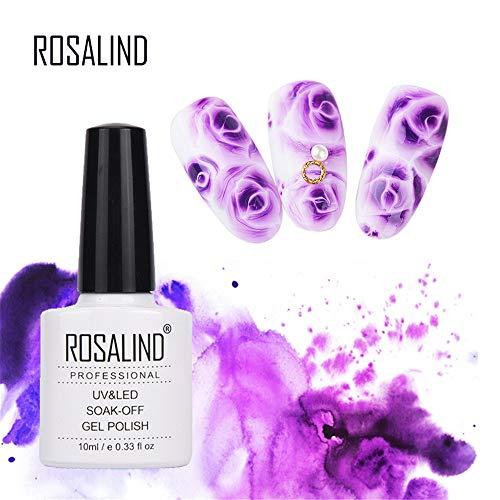 ROSALIND Nail Art 10ml Blossom UV LED Gel Brillo de esmalte de uñas para manicura Lacas semi permanentes