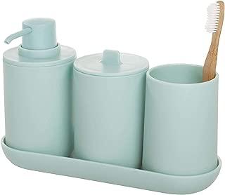 iDesign Cade 4-Piece Bathroom Accessory Set, Soft Aqua