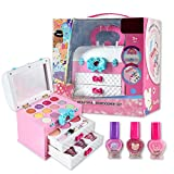 leveraYo Kids Makeup Palette for Girls/Pretend Makeup Kit Set/Safe and Non-Toxic Toy/Girl Pretend Play Makeup Set with Portable Box Cosmetic Kit Toy for Children Gifts
