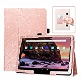 DMLuna Case for All-New Amazon Fire HD 10 & 10 Plus Tablet 11th Generation 2021 Release, Slim PU Leather Cover Folio, with Folding Stand, Auto Wake/Sleep, Hand Strap, Card Slot - Glitter Rose