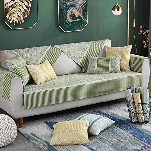 YUTJK Funda De Sofá Chaise,Funda de sofá Transpirable de Primavera y Verano,Fundas de sofá de algodón Modernas,Toalla de sofá Tejida,Funda de Juego de Toallas de sofá Universal 4 Estaciones-Grass_