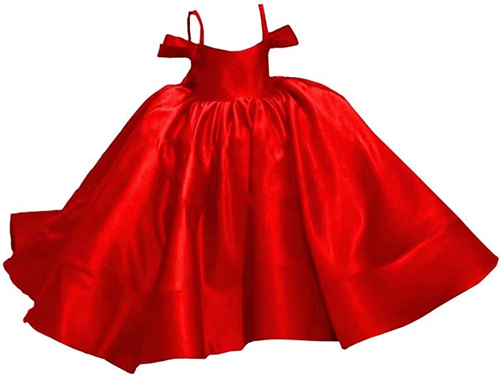 HFAGEMV Cold Shoulder Satin Mini Wedding Guest Dresses Teens Cupcake Ball Gowns Party Dress Toddlers 2021