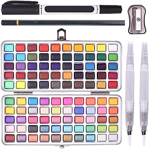 Pintura de Acuarela, Juego de Pintura 100 Colores Vivos en Caja de Metal, Incluidos Colores Metálicos y Fluorescentes, Juegos de Pinceles de Acuarela Portátiles no Tóxicos para Niños, Artista