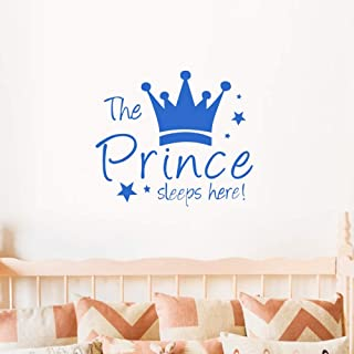 Crown Star Wall Decal Prince Sleep Here Wall Sticker Wall Art Decor for Kids Bedroom Baby Nursery Removable Home Backgroun...