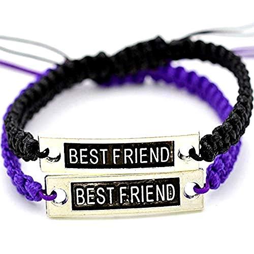 Lovelegis Due Bracciali da Donna e Uomo - Braccialetti - Amicizia - Best Friends - Migliori Amiche Amici per 2 - Best Friend X 2 - BFF - Coppia - Pezzi - Colorato - Colore Viola e Nero
