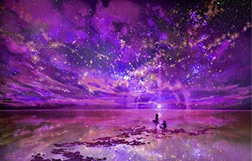 DIY Oil Painting Paint by Number Kit for Kids Adults Beginner 16x20 inch - Drawing with Brushes Christmas Decor Decorations Gifts (Purple Night Sky, Without Frame)