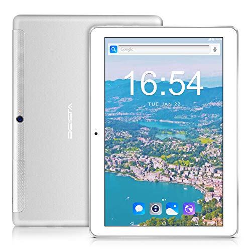 Tablet 10 Pollici 4G LTE BEISTA-(3GB RAM,32GB ROM,Android 7.0 tablets,Quad-core,Sim,WiFi,Corpo in metallo ultrasottile,Schermo in vetro temperato,GPS,Bluetooth,OTG)-Argento