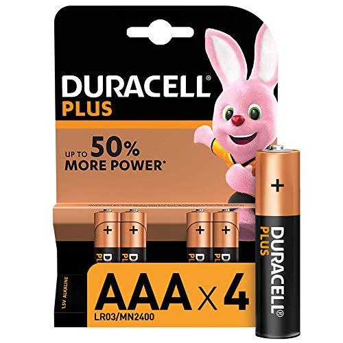 Duracell LR03 MN2400 Plus AAA - Batterie Ministilo Alcaline, Confezione da 4 Pacco del Produttore, 1.5 V, 4 Batterie