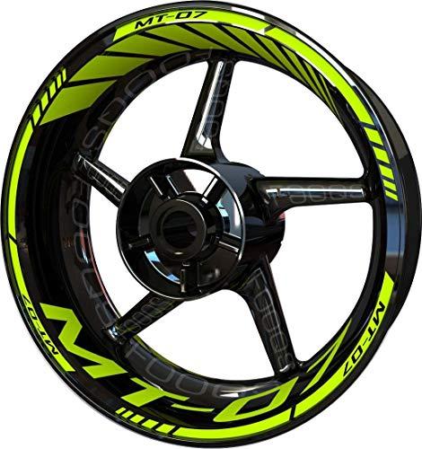 Motocicleta Moto Llanta Inner Rim Tape Decal Pegatinas F2 para Yamaha MT07 MT-07 MT 07 (Fluo 2)