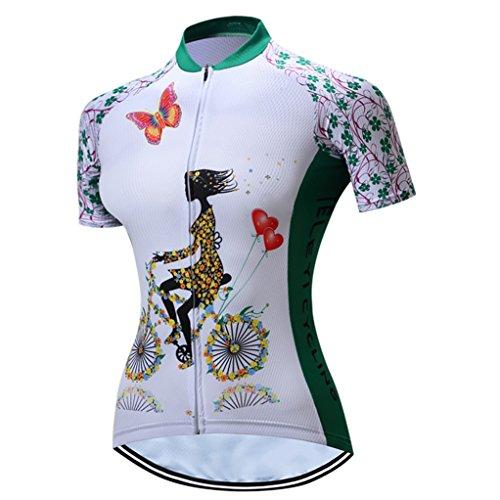 Radfahren Jersey Frauen Fahrrad Trikots Sport MTB Straßenberg Bluse Kurzarm Fahrrad T-Shirts Top Outdoor Reiten Jersey Fahrrad Jacke Grün Größe L
