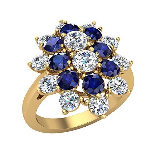 Glitz Design Mujer Niños Hombre Unisex 750 Gold oro amarillo 18 quilates (750) redonda Blue Sapphire