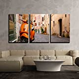 wall26 3 Piece Canvas Wall Art - Old City Street with Motorbike in Rome, Italy. on Sunny Autumn or Spring Day. - Modern Home Art Stretched and Framed Ready to Hang - 16